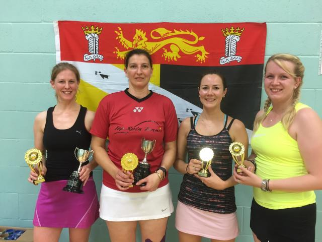 Womens Doubles Winners / Runners Up - Toni Sturgeon, Louise Culyer & Lucy Curran, Serena Verney